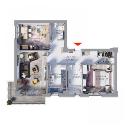 Spatiul generos, un motiv in plus sa alegi un apartament de 3 camere